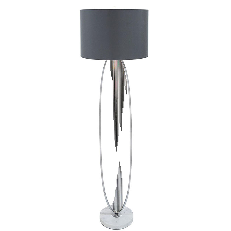 Silver Oval Abstract Floor Lamp with 18 inch Grey Faux Silk Cylinder shade
