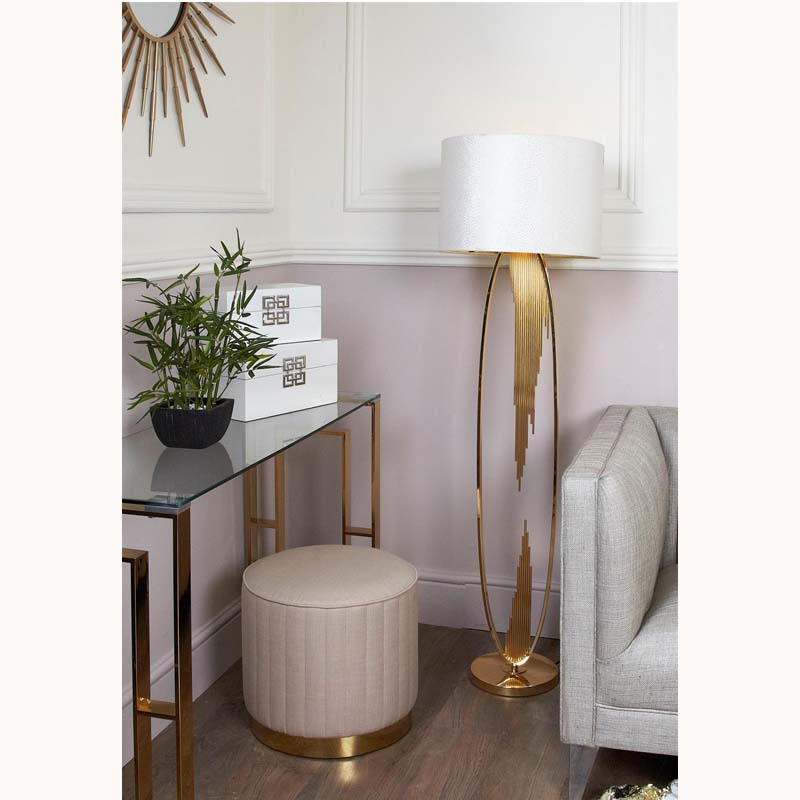 Gold Oval Abstract Floor Lamp with 18 inch White crocodile velvet cylinder shade