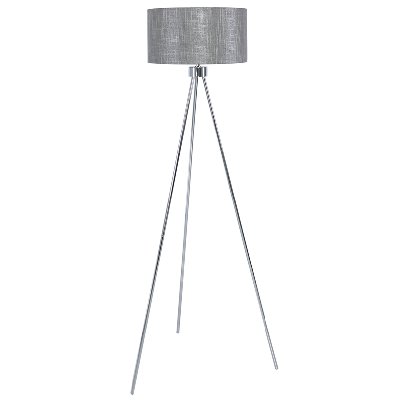 Large 159cm Chrome Tripod Base Floor Lamp With Grey Linen Shade