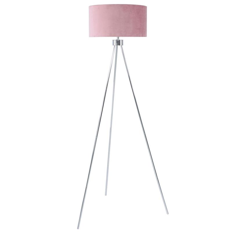 159cm Chrome Tripod Floor Lamp with Pink Velvet Shade