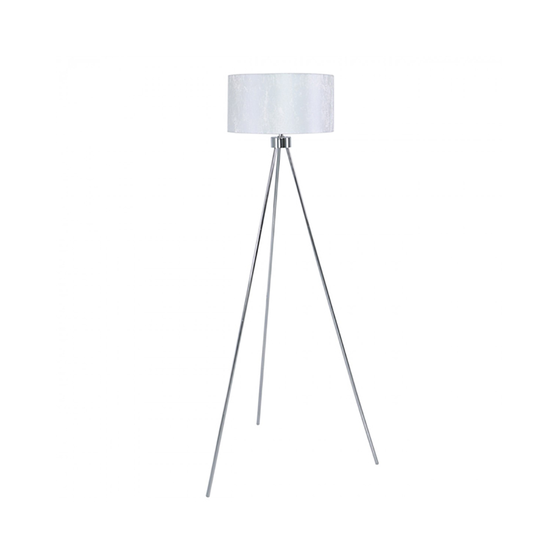 Modern Large 159cm Chrome Tripod Floor Lamp With White Cotton Shade-Living Room