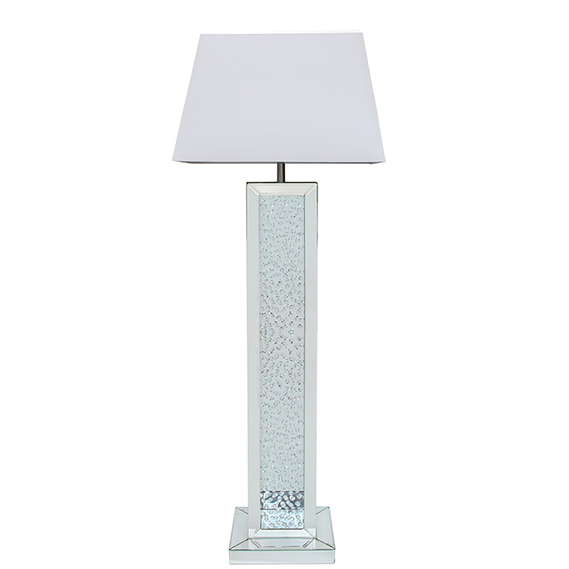 "Mirror Astoria Floating Crystal Base Floor Lamp with 22""Rectangular White Shade"