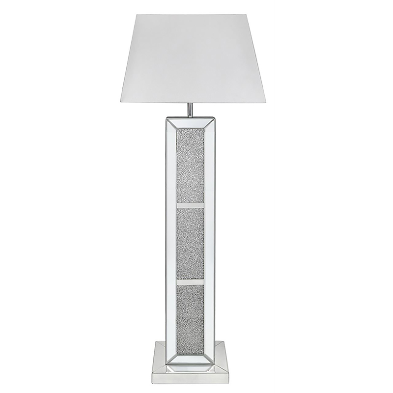 Mila Mirror Brick Sparkle Glitter Floor Lamp With White Shade