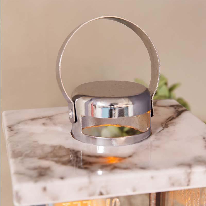 HESTIA Glass Marble Effect LED Candle Lantern
