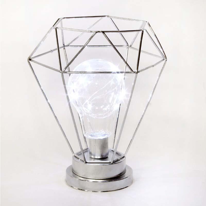 Hestia Chrome Metal Lantern LED Bulb Light 22cm