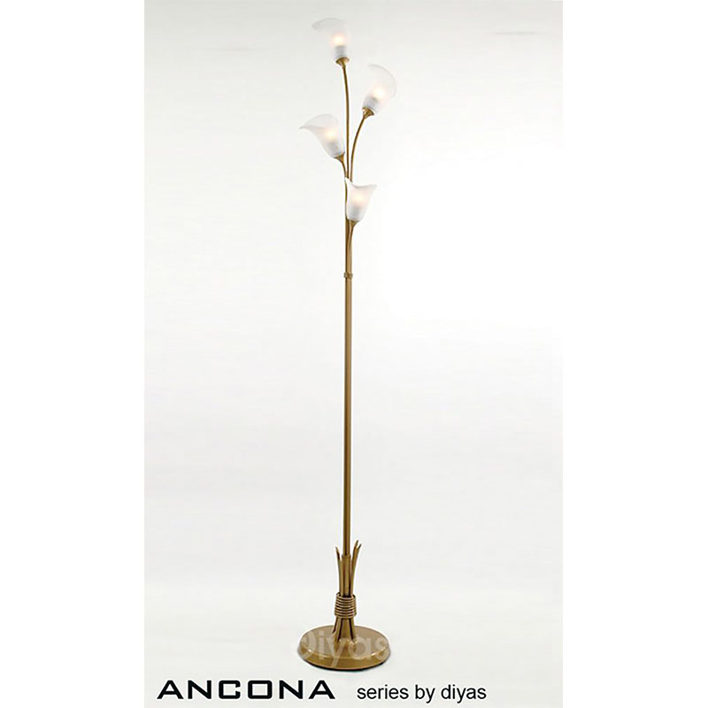 Floor Lamp With In-Line Dimmer 4 Light Frosted Glass