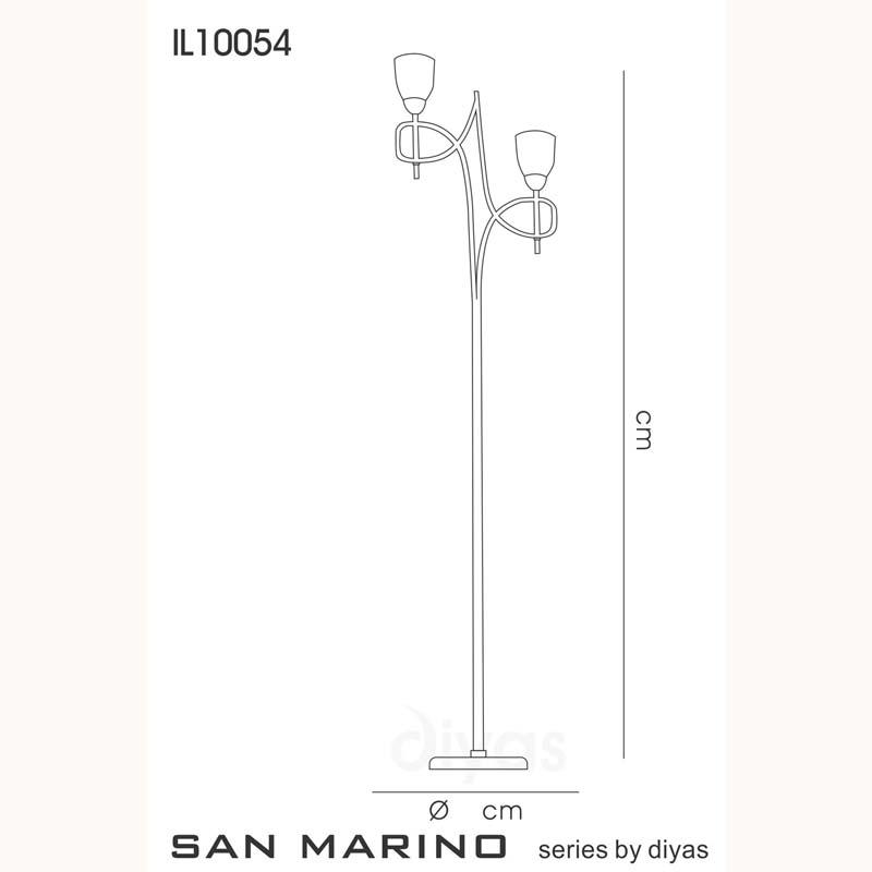 Marino Floor Lamp With In-Line Switch 2 Light Cream