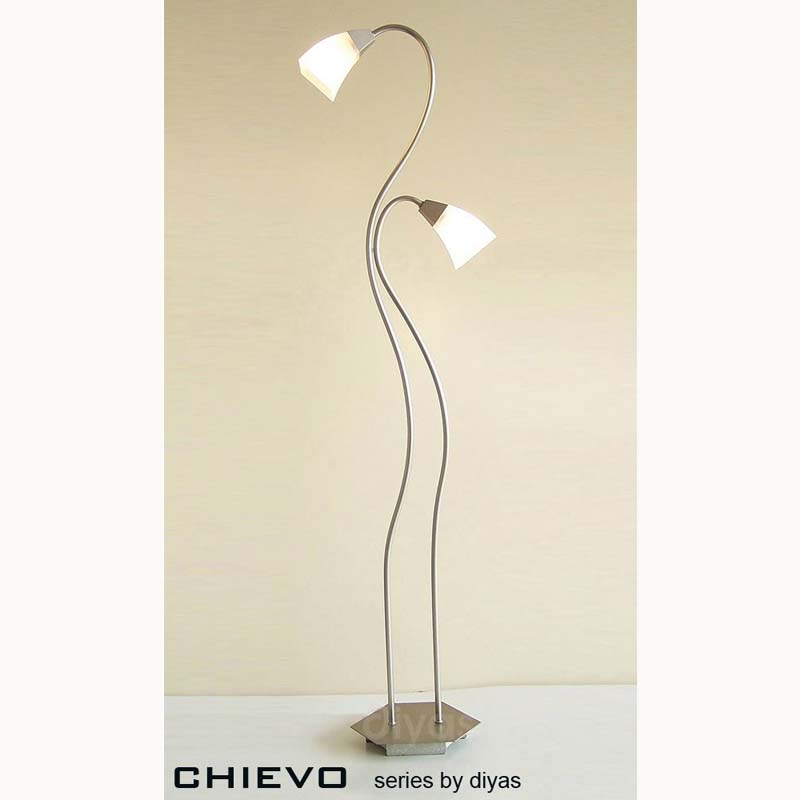 New Look Floor Lamp With In-Line Dimmer 2 Light Satin Frosted Glass