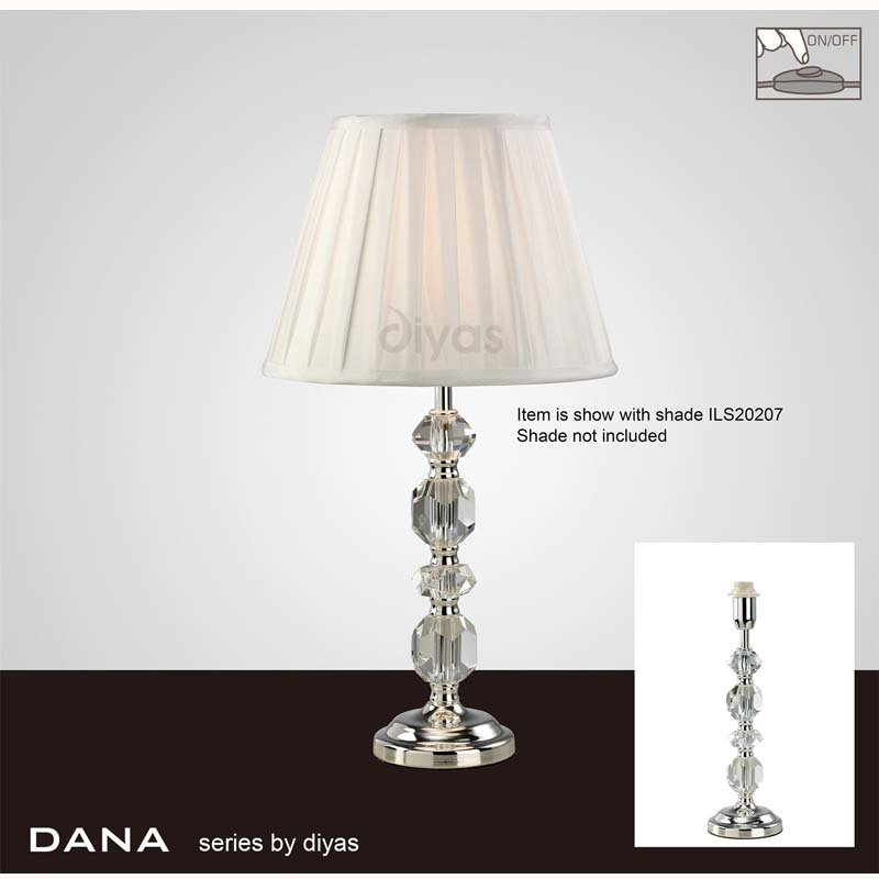 Modern Silver Finish Crystal Table Lamp Without Shade - 1 Light
