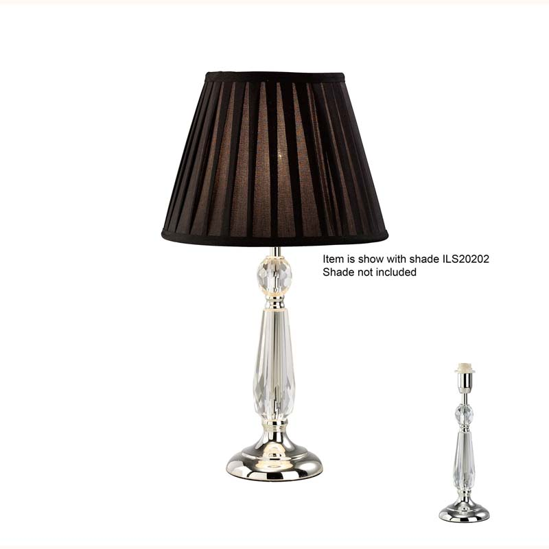 Stylish Crystal Bedside Table Lamp Without Shade 1 Light Silver Finish