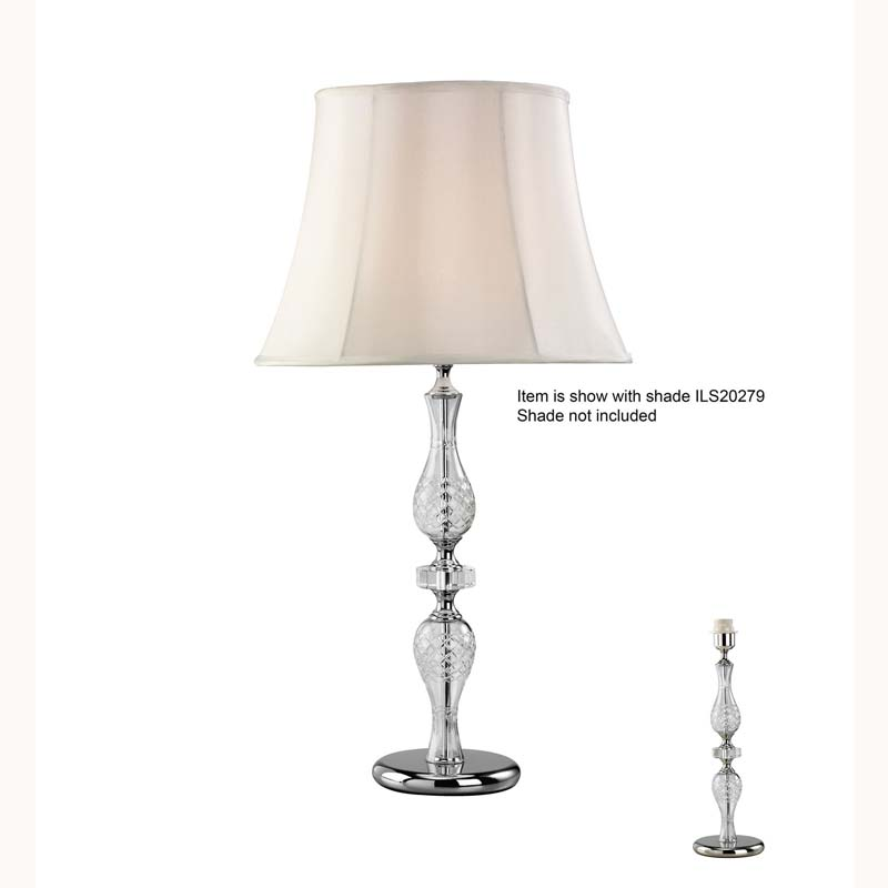 Stunning Silver Finish Crystal 1 Light Table Lamp Without Shade