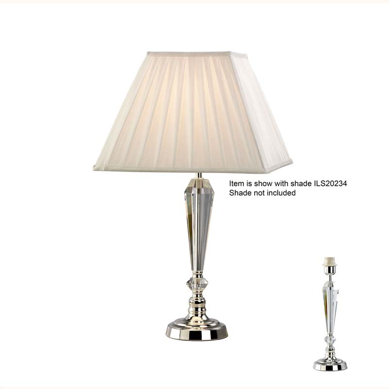 Crystal Table Lamp Without Shade 1 Light Bedside - Silver Finish