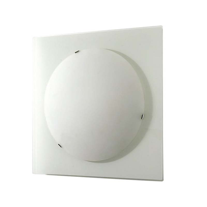 Zara Flush Fitting Medium Square Satin Nickel/Opal Glass