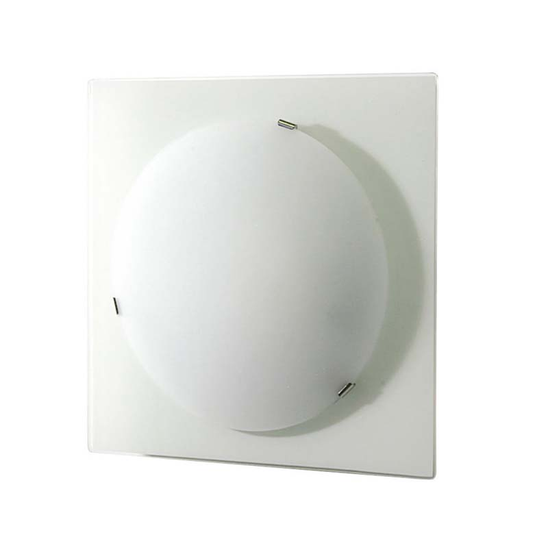 Zara Flush Fitting Small Square Satin Nickel/Opal Glass