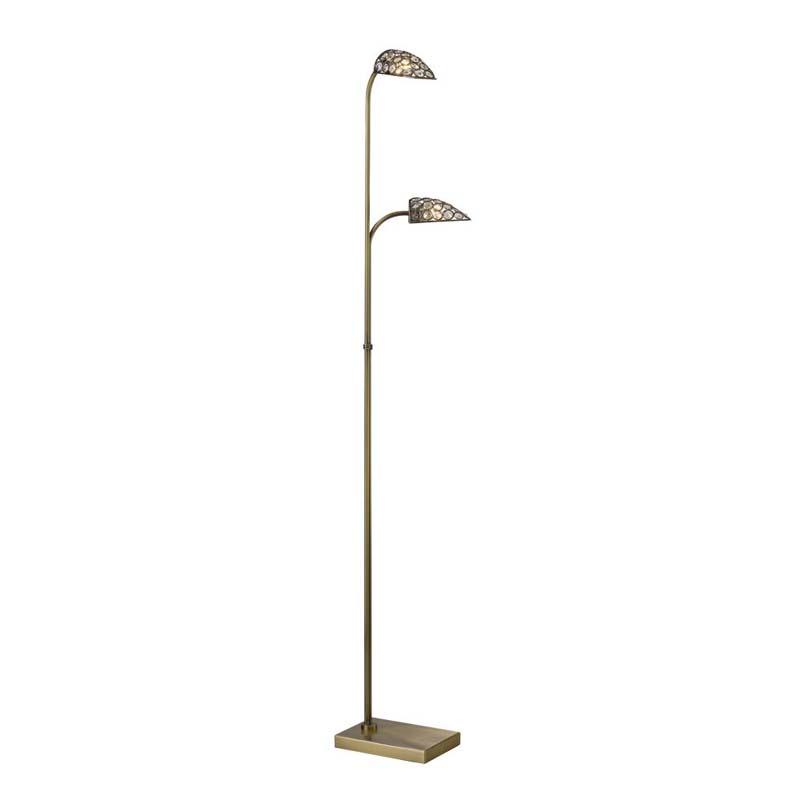 Ashton Floor Lamp 2 Light Antique   Brass/Crystal