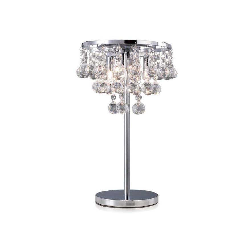 Decorative Table Lamp 3 Light Polished Chrome/Crystal Modern Design