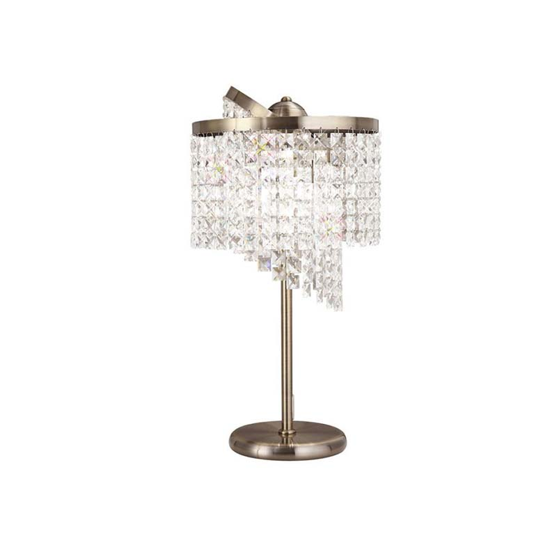 Table Lamp 3 Light Antique Brass/Crystal - Stunning Design Decor