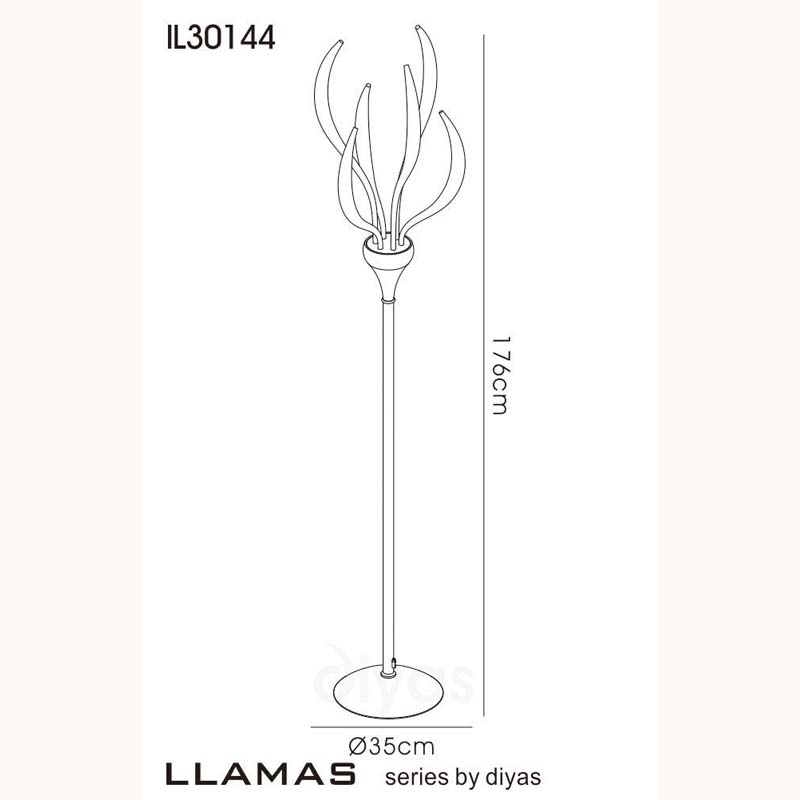 Llamas Floor Lamp 6 Light Polished Chrome