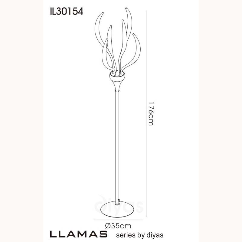 Llamas Floor Lamp 6 Light White