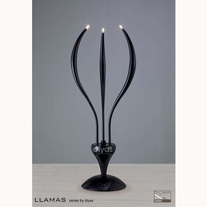 Table Lamp 3 Light/ Black Glossy Finish - Stylish Living Room Decor