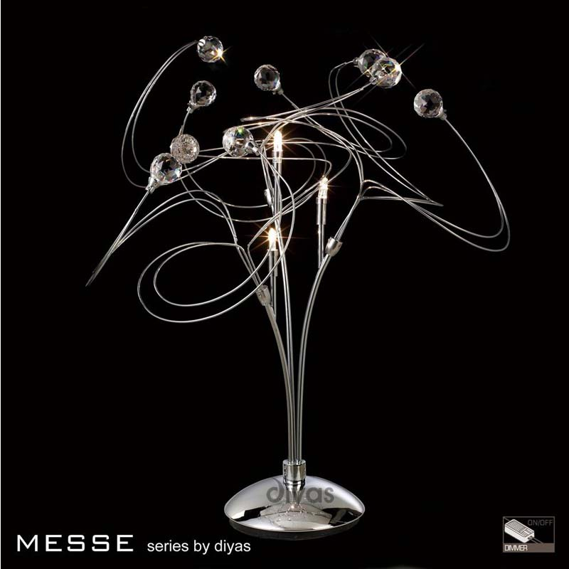 Decorative 3 Light Modern Table Lamp Polished Chrome/Crystal