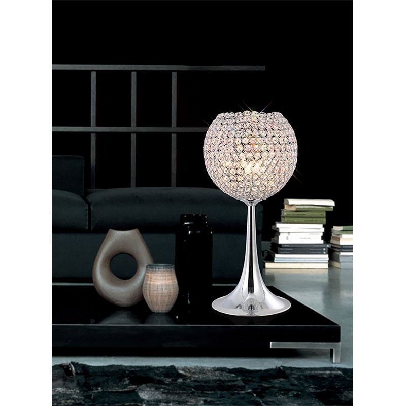 Crystal Polished Chrome 3 Light Table Lamp