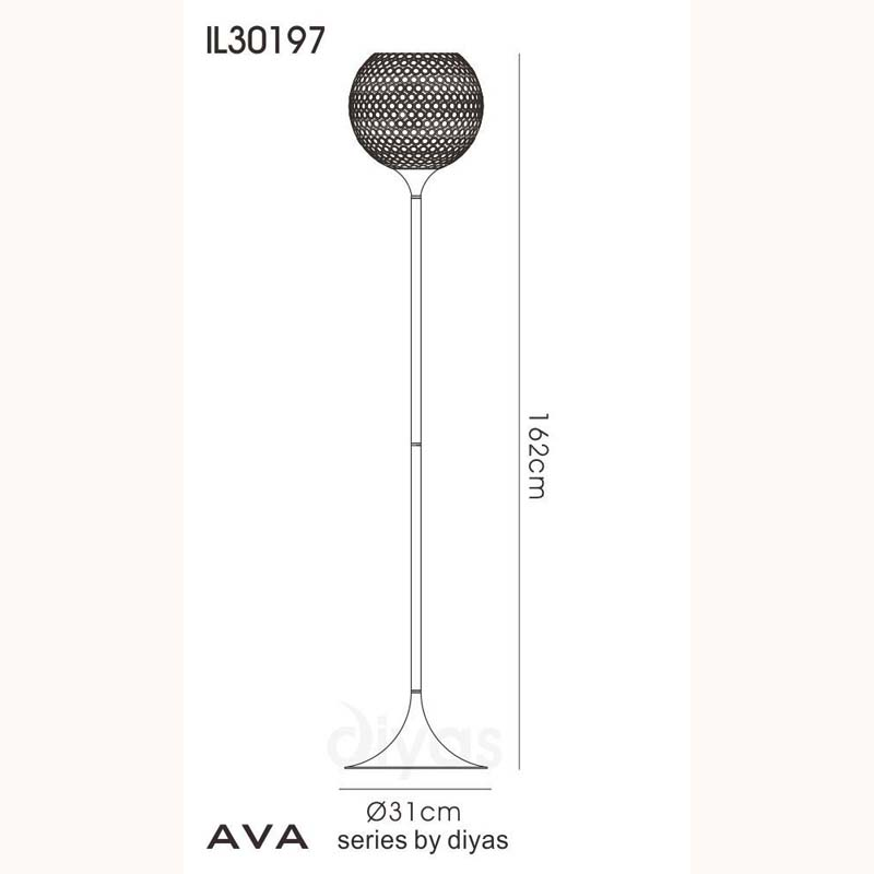 Ava Floor Lamp 5 Light Polished Chrome/Crystal