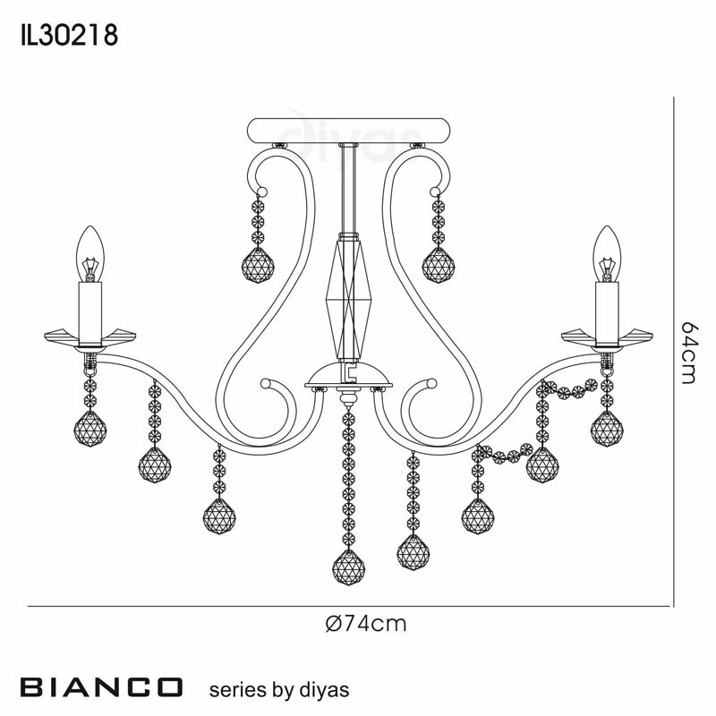 Bianco Ceiling 8 Light French Gold/Crystal