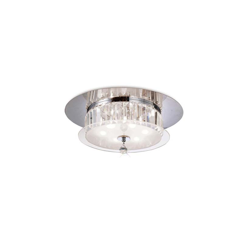 Tosca Ceiling Round 6 Light Polished Chrome/Glass/Crystal