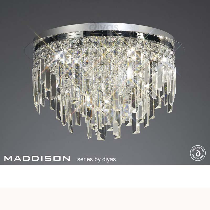 Maddison Ceiling Round 6 Light Polished Chrome/Crystal