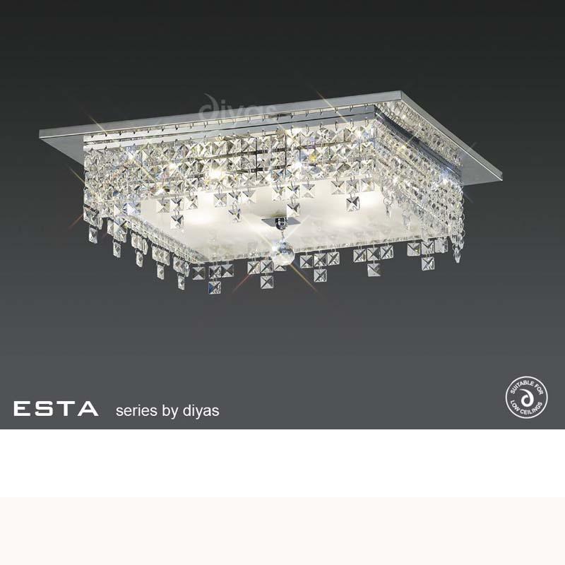 Este Ceiling Square 6 Light Polished Chrome/Glass/Crystal