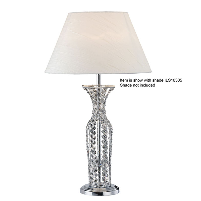 Portable Tall Crystal Table Lamp Without Shade 1 Light - Bedside Decor