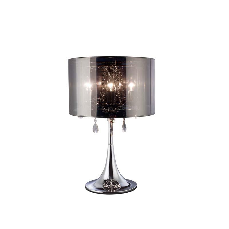 Trace Table Lamp 3 Light Polished Chrome/Pvc/Crystal - High Quality