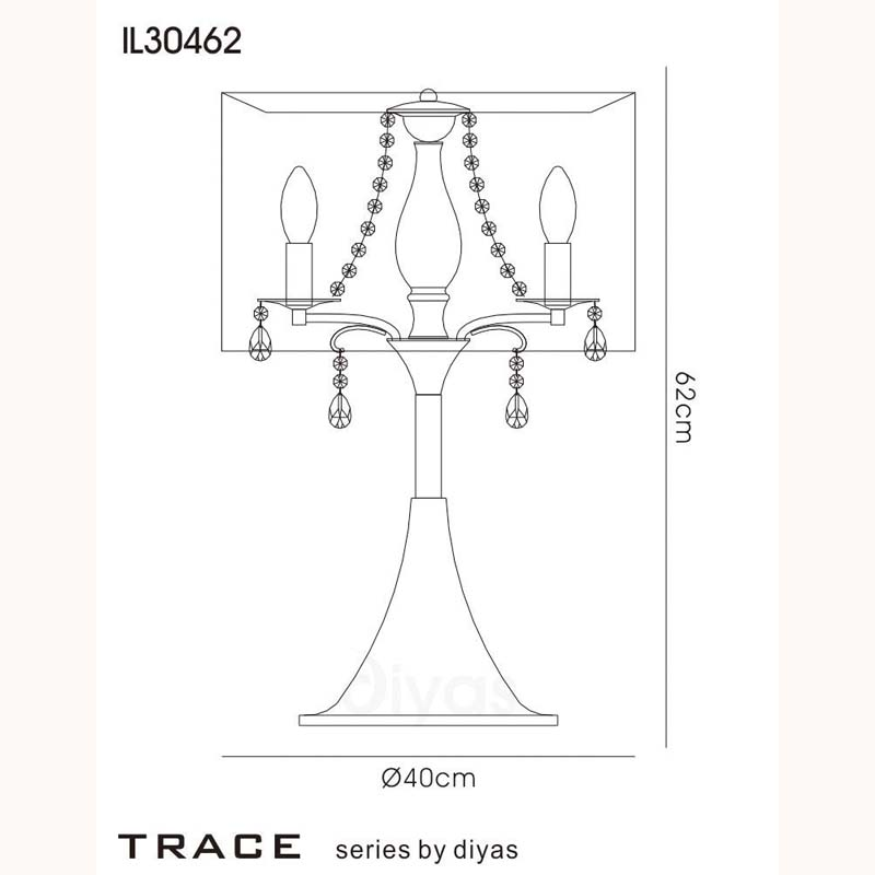 Trace Polished Chrome 3 Light Table Lamp & Crystal Detail