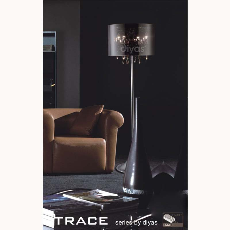 Trace Floor Lamp 4 Light Polished Chrome/Pvc/Crystal