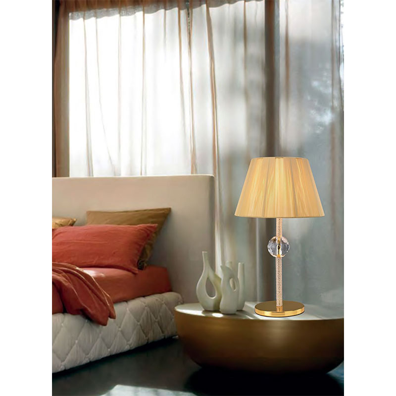 Modern French Style 1 Light Table Lamp Gold/Crystal Without Shade
