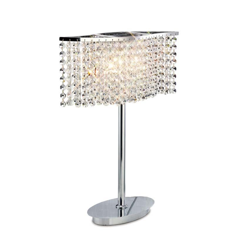 Table Lamp 2 Light Polished Chrome/Crystal - Home Lighting Decor