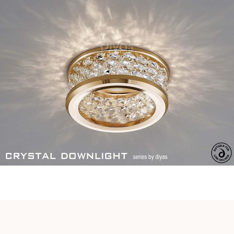 Dante GU10 Downlight With 3 Levels Of Crystal Beads French Gold/Clear