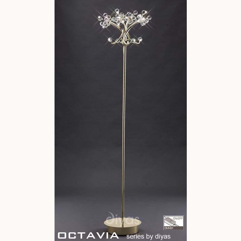 Octavia Floor Lamp 4 Light French Gold/Crystal