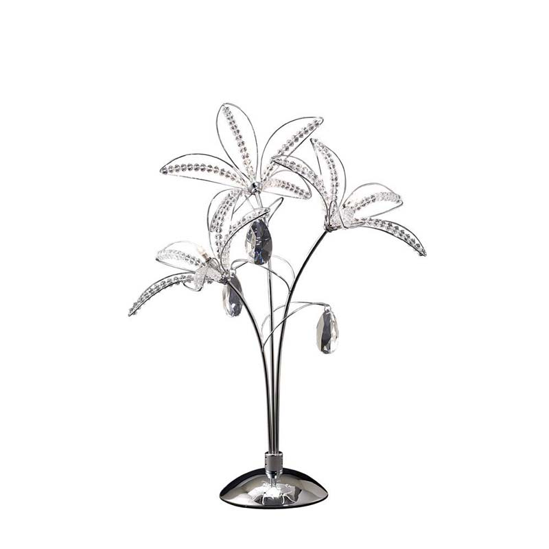 Table Lamp 3 Light Polished Chrome/Crystal - Classic Delicate Design
