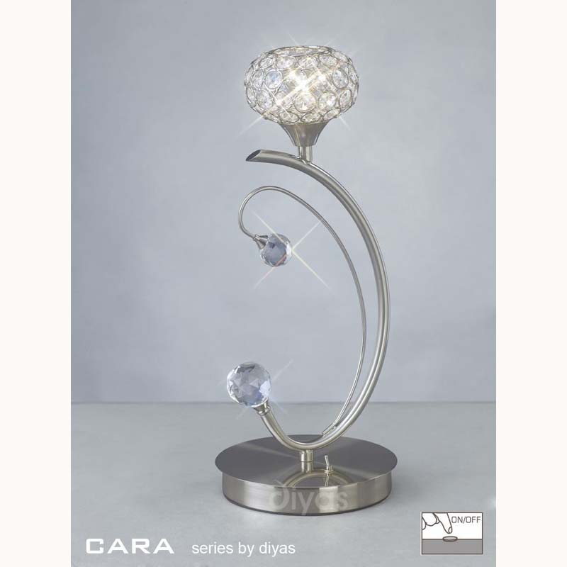 Decorative Crystal Table Lamp 1 Light Satin Effect Nickel Finish