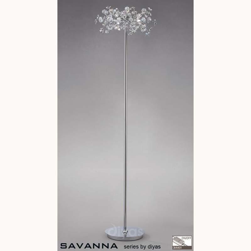Savannah Floor Lamp 3 Light Polished Chrome/Crystal