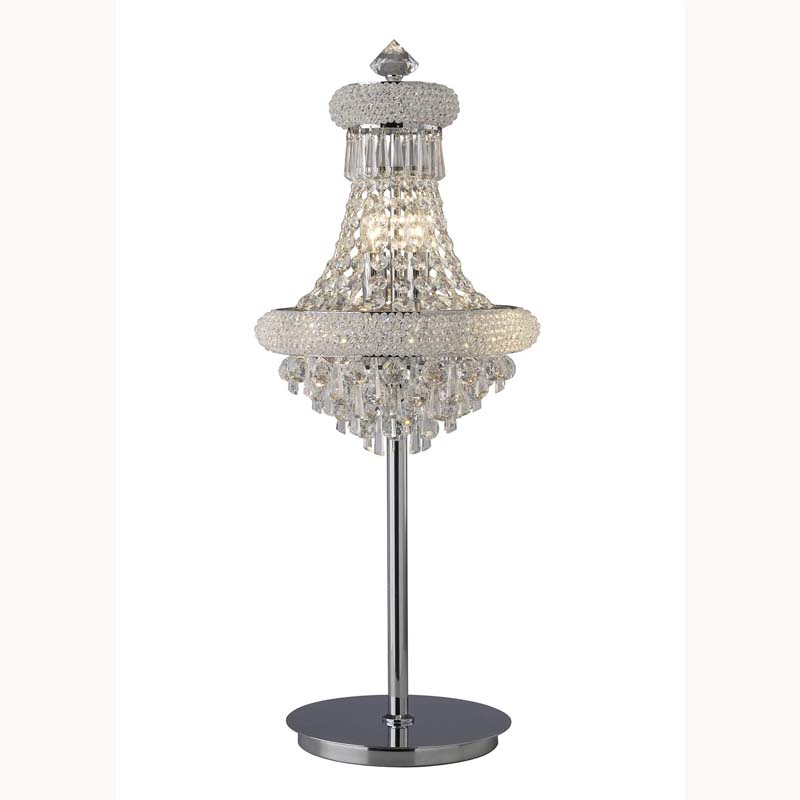 Table Lamp 6 Light Living Room Decor Polished Chrome/Crystal