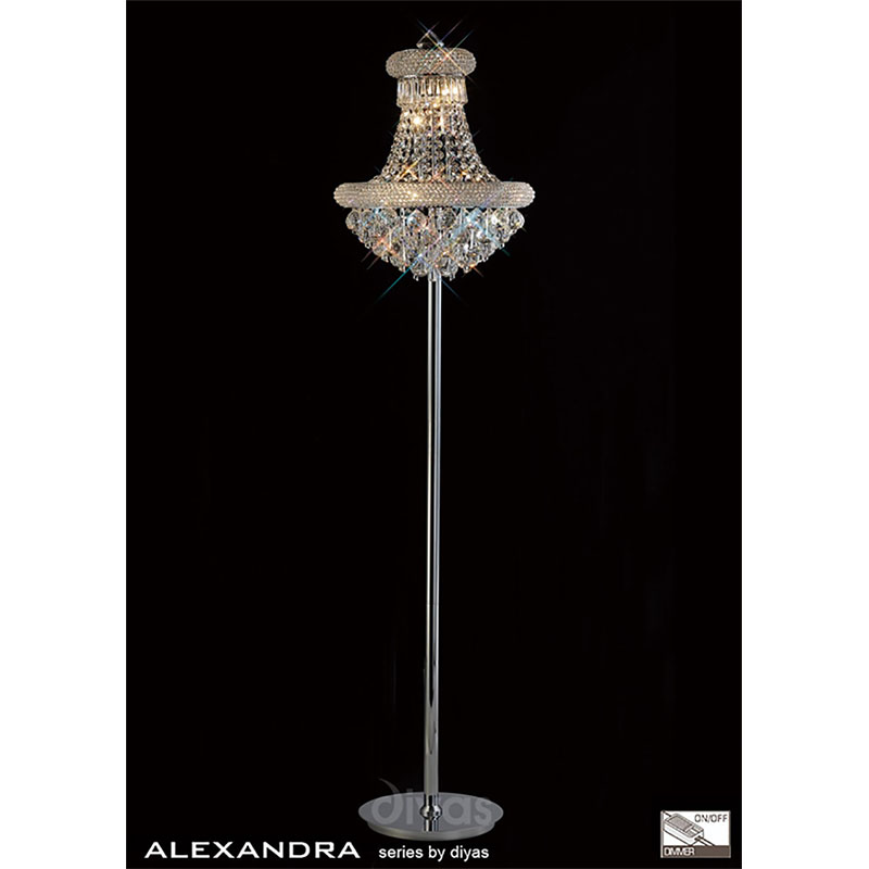 Alexandra Floor Lamp 8 Light Polished Chrome/Crystal
