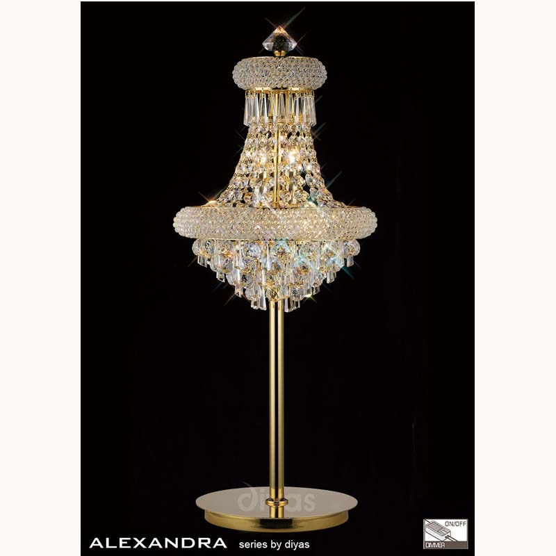 Decorative Crystal Table Lamp 6 Light French Style Gold Finish