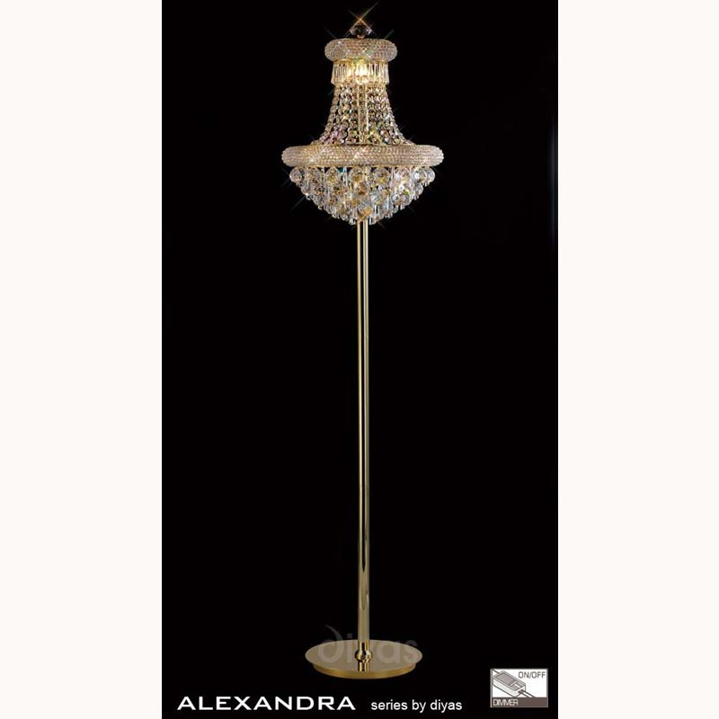 Alexandra Floor Lamp 8 Light French Gold/Crystal