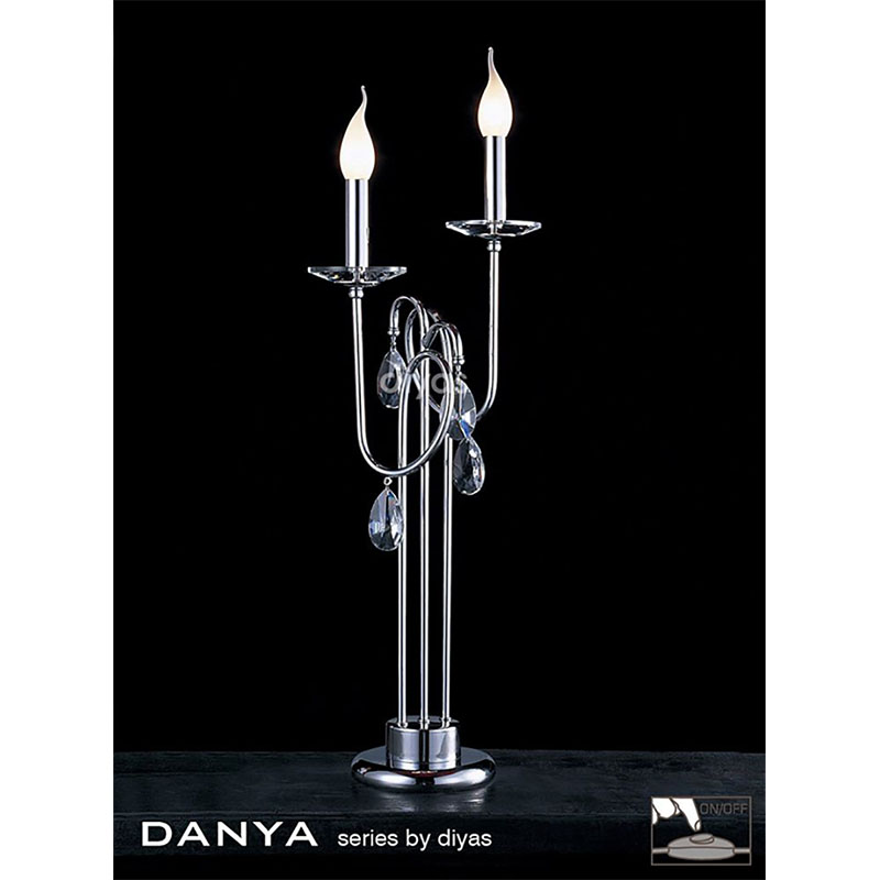 Stylish Table Lamp 2 Light Polished Chrome/Crystal - High Quality