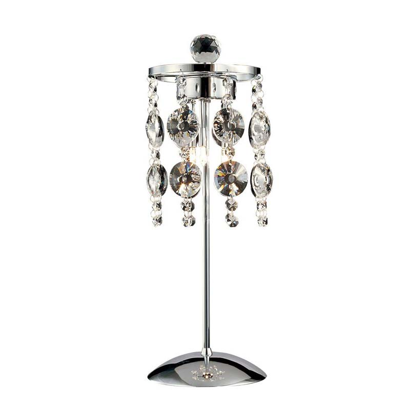 Table Lamp 3 Light Polished Chrome/Crystal - Decorative Lighting