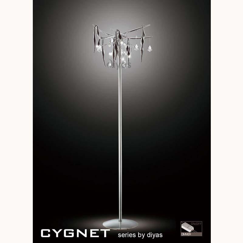 Cygnet Floor Lamp 6 Light Black Glass/Crystal