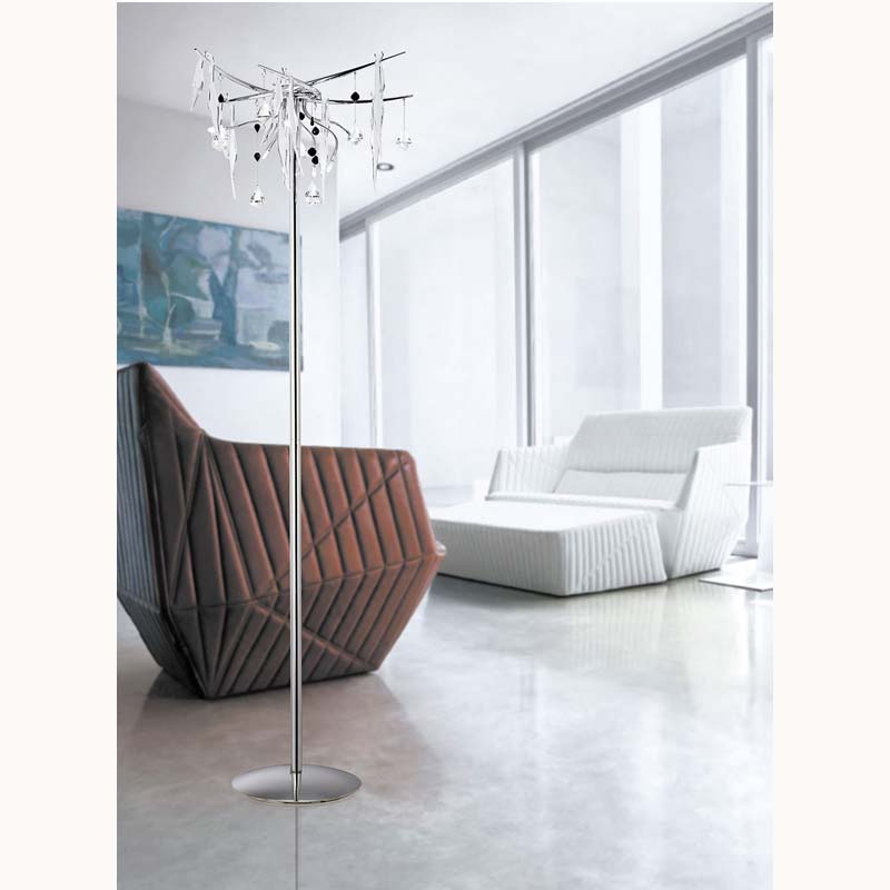 Cygnet Floor Lamp 6 Light White Glass/Crystal
